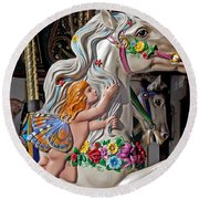 Carousel Horse And Angel Round Beach Towel