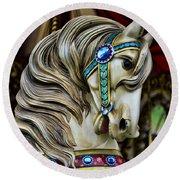 Carousel Horse  Round Beach Towel by Paul Ward