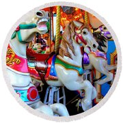 Carousel Horses Round Beach Towel