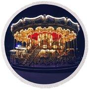 Carousel In Paris Round Beach Towel