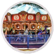 Carousel Inside The Mall Round Beach Towel