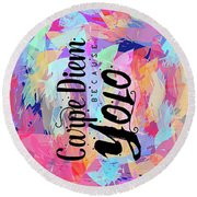 Carpe Diem Round Beach Towel