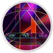 Carpe Diem Orangecross Round Beach Towel