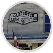 Carpenter Farm Supply Co Sign Round Beach Towel