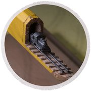 Carpenter Pencil Carved Into A Train By Cindy Chinn Round Beach Towel