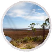 Carrabelle Salt Marshes Round Beach Towel