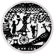 Carriage & Peacocks Round Beach Towel