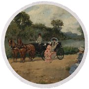 Carriage Ride By The River Round Beach Towel