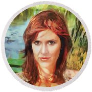 Carrie Fisher Round Beach Towel