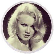 Carrol Baker, Vintage Actress Round Beach Towel