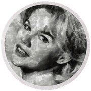 Carroll Baker Vintage Hollywood Actress Round Beach Towel