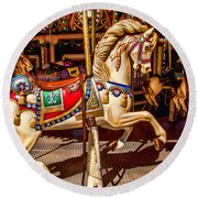Carrousel Horse Ride Round Beach Towel