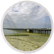Cars Travelling On Ryde Pier Round Beach Towel
