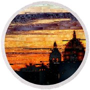Cartagena Colombia Night Skyline Round Beach Towel