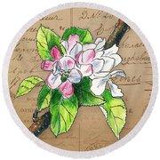 Carte Postale. Blossoming Apple Round Beach Towel