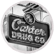 Carter Drug Co - Bw Round Beach Towel