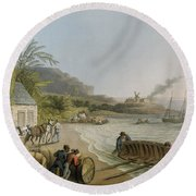 Carting And Putting Sugar Hogsheads On Board Round Beach Towel by William Clark