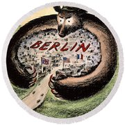 Cartoon: Cold War Berlin Round Beach Towel