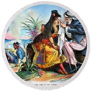 Cartoon: Cuba, 1895 Round Beach Towel