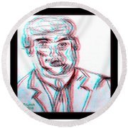 Cartoon Ink Sketch Of The Candidate Round Beach Towel