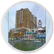 Cartoon Skyscraper  Round Beach Towel
