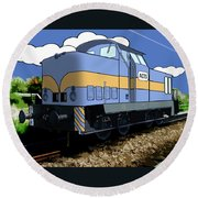 Illustrated Train Round Beach Towel