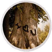 Carve I Love You In That Big White Oak Round Beach Towel