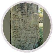 Carved Danzantes Stone Round Beach Towel