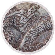 Carved Dragon Round Beach Towel