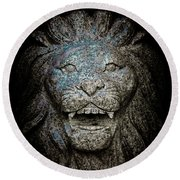 Carved Stone Lion's Head Round Beach Towel