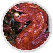 Carved Wood Dragon With Ball In Mouth Round Beach Towel