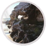 Carving Driftwood Round Beach Towel