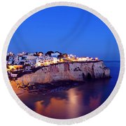 Carvoeiro In The Algarve Portugal At Night Round Beach Towel
