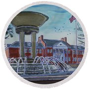 Cary Arts Center And Fountain Round Beach Towel