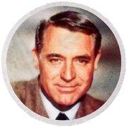Cary Grant By John Springfield Round Beach Towel