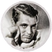 Cary Grant, Hollywood Legend By John Springfield Round Beach Towel