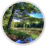 Cary Lake In August Round Beach Towel