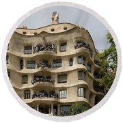 Casa Mila In Barcelona, Spain Round Beach Towel