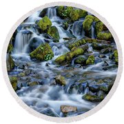 Cascade Of Many Waters Round Beach Towel