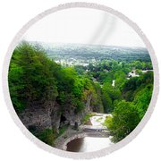 Cascadilla Gorge Cornell University Ithaca New York Panorama Round Beach Towel