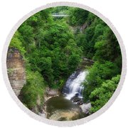 Cascadilla Waterfalls Cornell University Ithaca New York 01 Round Beach Towel