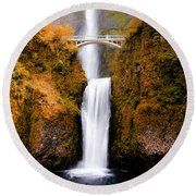 Cascading Gold Waterfall II Round Beach Towel