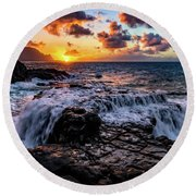 Cascading Water At Sunset Round Beach Towel by John Hight