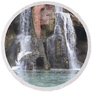 Cascading Waterfall Round Beach Towel