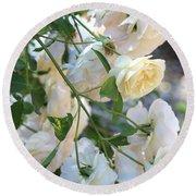 Cascading White Roses Round Beach Towel