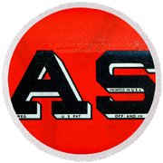 Case Tractor Nameplate Round Beach Towel