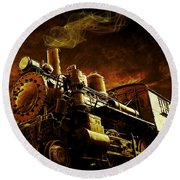 Casey Jones And The Cannonball Express Round Beach Towel