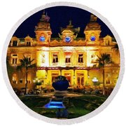 Casino Monte Carlo Round Beach Towel by Jeff Kolker