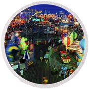 Casino Pier At Seaside Heights Round Beach Towel