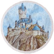 Castle On The River Rhine Round Beach Towel